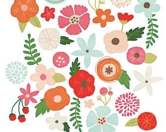 Watercolor Flowers Clip Art, Painted Flowers Clip Art, Flowers Clip Art, Flower Clip Art, Whimsical Flowers Clip Art, Digital Clip Art