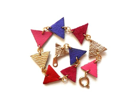 Geometric leather bracelet in hot pink, purple, fushia, red and gold triangles, berry shades
