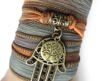 Bohemian Tree Of Life Silk Wrap Bracelet Hamsa Yoga Jewelry Earthy Wrap Bracelet Namaste Yoga Spiritual Arm Ribbon Bracelet, Birthday Gift