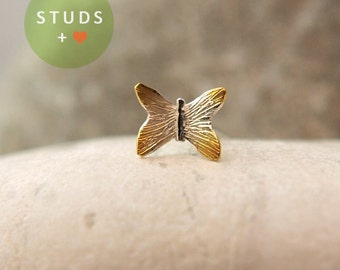 NOSE STUD / French butterfly/ Sterling Silver/ Piercing/ Tragus Ear/ Cartilage Earrings/ Nose ring/ Hoop nose/ Helix Earrings