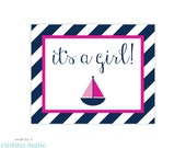 INSTANT DOWNLOAD, nautical girl baby shower, printable sign, it's a girl