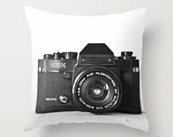 Camera Pillow - Vintage Camera Pillow Case - Hipster Pillow Cover - Camera Cushion - Black and White - 16x16 18x18 20x20 Pillow Cover