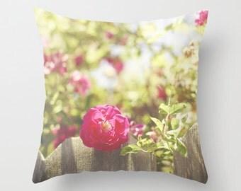 Flower Pillow Case - Vintage Pillow Cover - Rose Pillow - 16x16 18x18 20x20 Pillow Cover