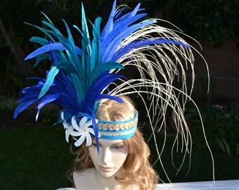 Blue and turquoise Tahitian headband with ni'au