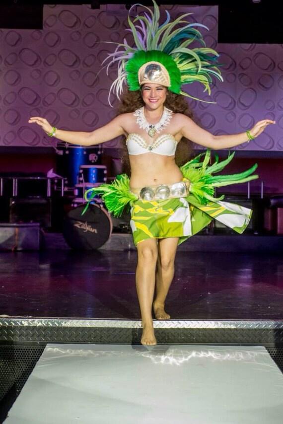 Tahitian head-dress and hip-belt complete