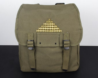Pyramid Studded Vintage Army Backpack Book Bag School Bag