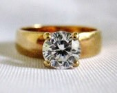 Beautiful Vintage Gold Plated Solitaire Ring 5mm CZ Cubic Zirconia