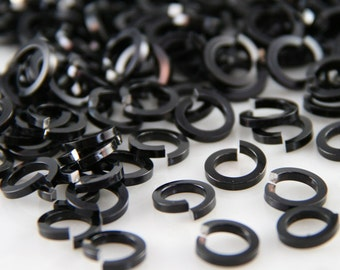 16 ga 1/4, 150 Square Black Anodized Aluminum Chainmail Jump Rings
