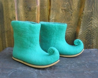 Felted boots MINT WIND elven