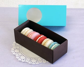 10 Turquoise & Brown Long Macaron/Gift/Favor/Party Boxes