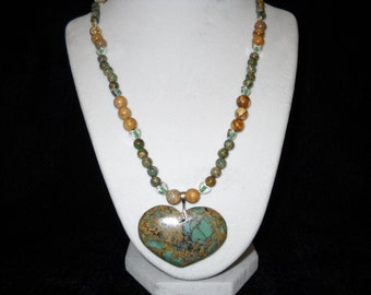 Aqua Jasper Heart Necklace Set