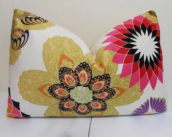 kiwi, black, orange, hot pink, red, purple, lime and ivory Lumbar Pillow Cover - Regal Crane Microfiber- 14 x 24