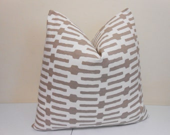 Taupe Designer  Pillow Cover - Accent Pillow- Annie Selke Links- Geometric Pillow Cover- Throw Pilllow - 20 x 20