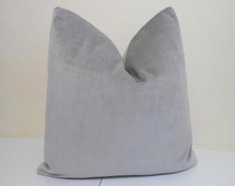 Grey Velvet Pillow Cover -J P Martin Velvet - Decorative  throw pillow