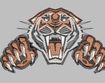 Tiger with paws embroidery machine design  2 sizes Pattern digital download