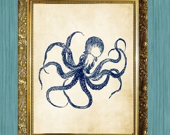Blue Octopus Print 8 x 10  Print Sea Life Art Print Seaside Art Print Sealife Art Print Natural History Print