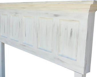 Antique white or Popcorn White faux distressed door headboards made to fit any size bed