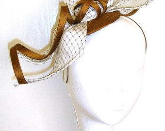 Ivory Fascinator, Ivory and bronze silk headpiece,
