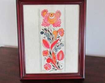 Handpainted  Fraktur in Brown Frame - 2002