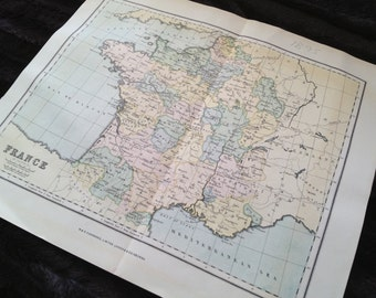 Map of France. Double Sided. Wonderful pastel colors. 1895