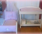 American Girl or Bitty Baby Fabric Tufted Furniture with Canopy