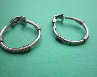 Vintage Interesting Silver Tone Hoop Earrings with Coils Cute