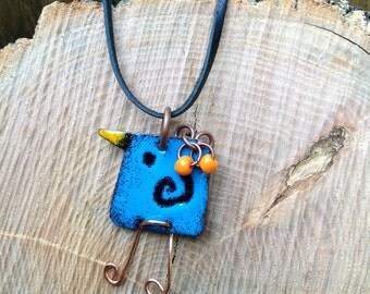 Enamel bluebird sgraffito pendant
