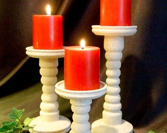 Bleached Stone Pillar Candle Holders set of 3