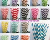 150 Paper Straws, Drinking Straws, Party Straws w/ DIY Flag