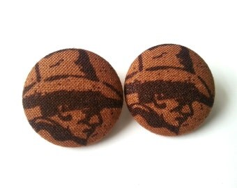 NEW brown country western cowboy fabric button earrings