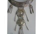 Long Bohemian Gypsy Silvery Necklace -  Boho Chic Summer - Neck Ring