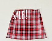 SALE ! Red and navy tartan gathered elasticated waist skirt age 4