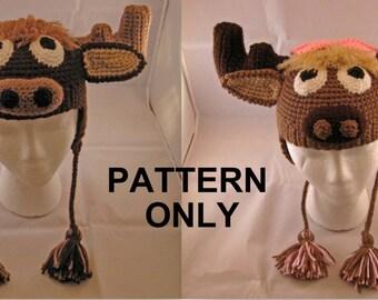 PATTERN: Melvin & Malinda Moose Crochet Hats - Childs