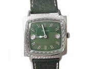 1966 Bulova Excellency Watch RARE TV Screen Case, Green Dial and Beveled Crystal 17J Unisex Timepiece
