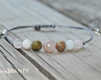 Rose Quartz Bracelet, Unakite Bracelet, Moonstone Bracelet, Childbirth Bracelet, Pregnancy Bracelet, Meditation Bracelet, Yoga Bracelet,