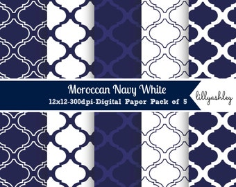Moroccan Navy White Digital Paper Pack of 5--digital scrapbook quatrefoil moroccan backgrounds web photography card making pattern navy