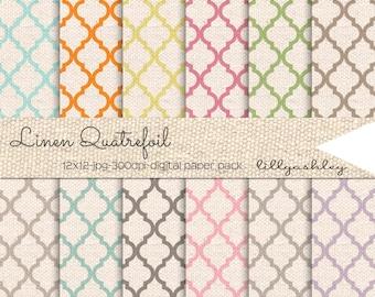 Linen Quatrefoil Digital Paper Pack of 12--12x12 JPG Quatrefoil Pattern on a Linen Texture Background for Scrapbook, Cards, Digital, Etc!