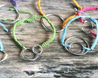 Macrame Loop Bracelet - Summer Bracelet - Friendship Bracelet - Wire Bracelet - Beach Bracelet- Adjustable