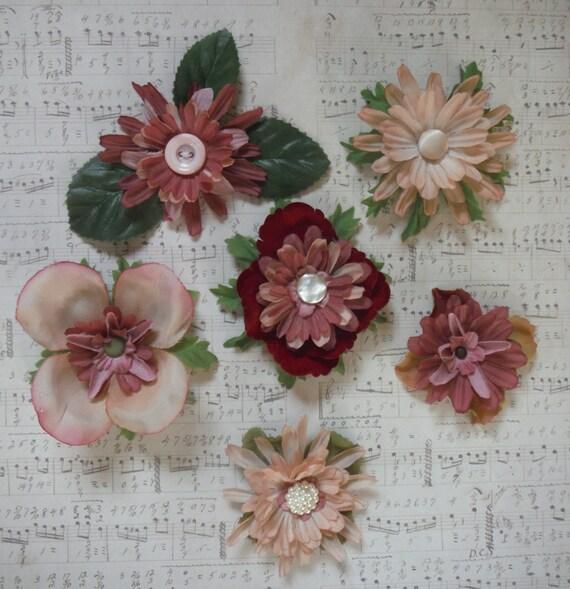 Victorian Romance Flowers, Scrapbooking Embellishment Lot, Shabby Rose Pink Chic Valentine
