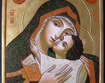 Hand painted orthodox icon ''Virgin Eleusa''