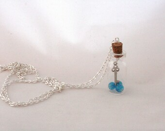 Key and Blue Glass Beads | Bottle Necklace