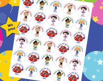 60 ct Little Einstein personalized stickers birthday party favor tags labels cupcake toppers decoration