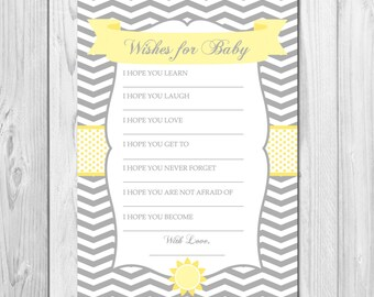 INSTANT DOWNLOAD - Well Wishes for Baby - You Are My Sunshine Theme - DIY - Printable