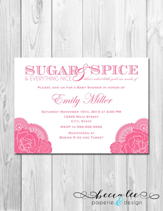 sugar and spice baby shower invitation corner flowers pink diy
