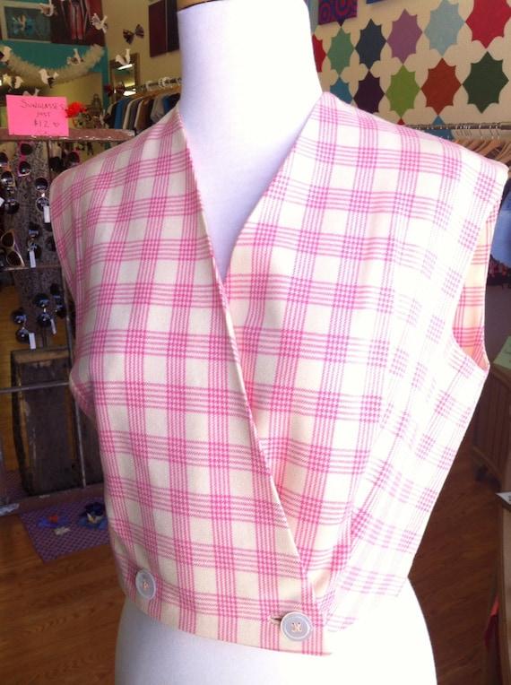 Vintage pink plaid tailored vest Evan Piccone
