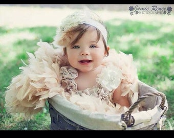 Beige lace feather dress with satin flowers headband pageant holiday vintage wedding photo tutu baby flower girl toddler costume cake smash
