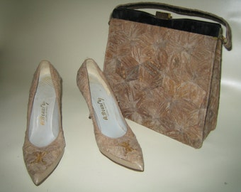 Vintage 1950's 1960's A.Beauty Oriental - Asian Matching Cork Purse and Shoe Set - Size 8