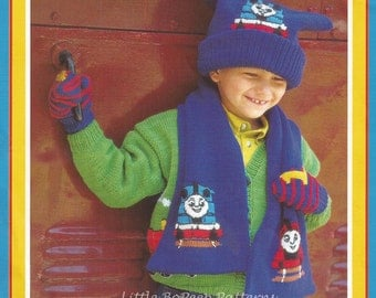 Thomas The Tank Engine Knitting Pattern Childs Hat, Scarf and mittens set  - PDF knitting pattern