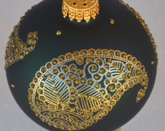 Gold Hand Painted Paisely on Green Glass Bulb Ornament
