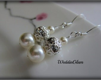 Drop Pearl Bridal Earrings, Simple Wedding Earrings, Ivory Pearl and Rhinestone Ball Earrings, Wedding Jewelry, Bridesmaid earrings gift